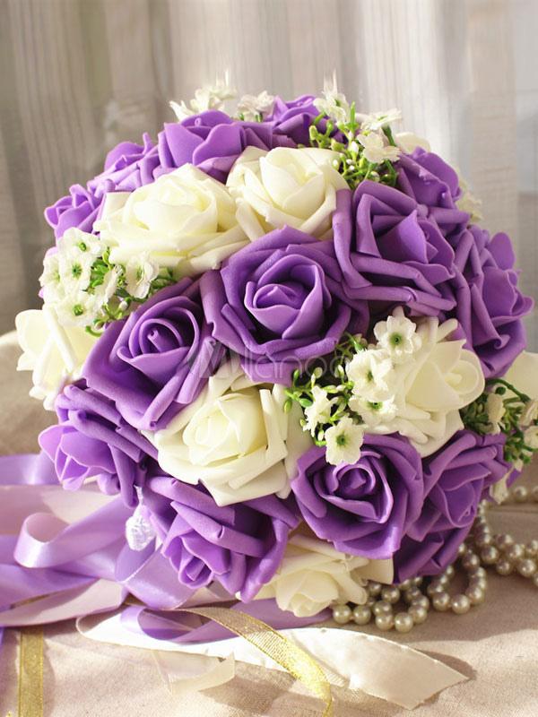 Purple Wedding Bouquet Flower Lace Ribbons Bridal Flowers