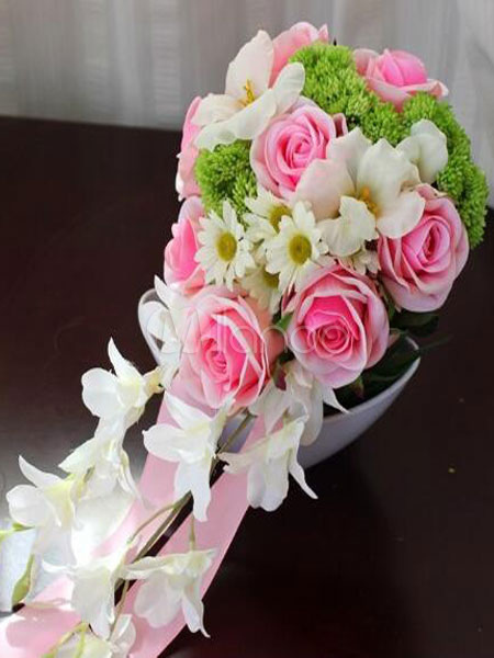 Buy Pink Wedding Bouquet Flower Silk Ribbons Bridal Cascading Bouquets for $67.44 in Milanoo store