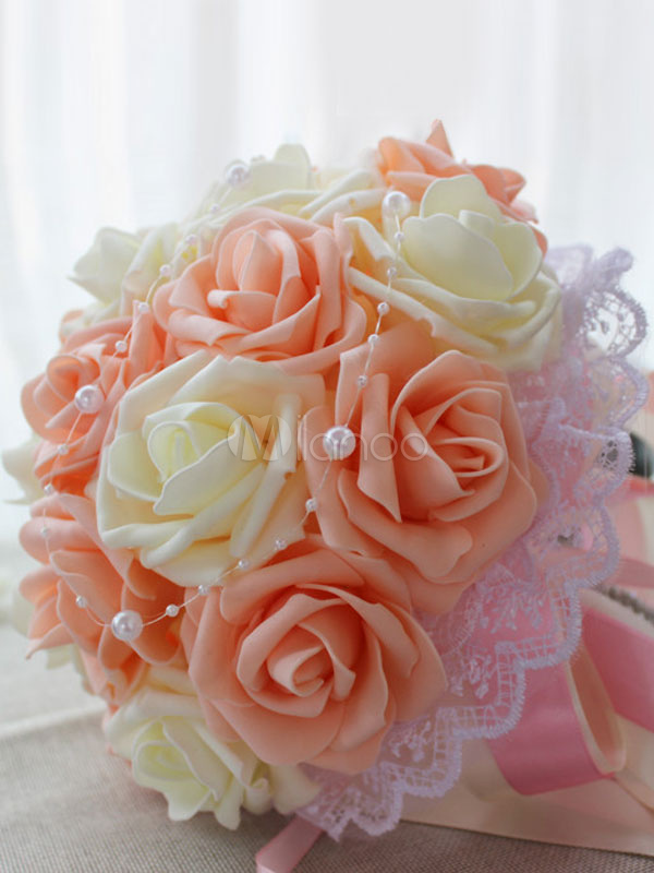 Flower Wedding Bouquet Lace Champagne Silk Ribbons Bridal Bouquets