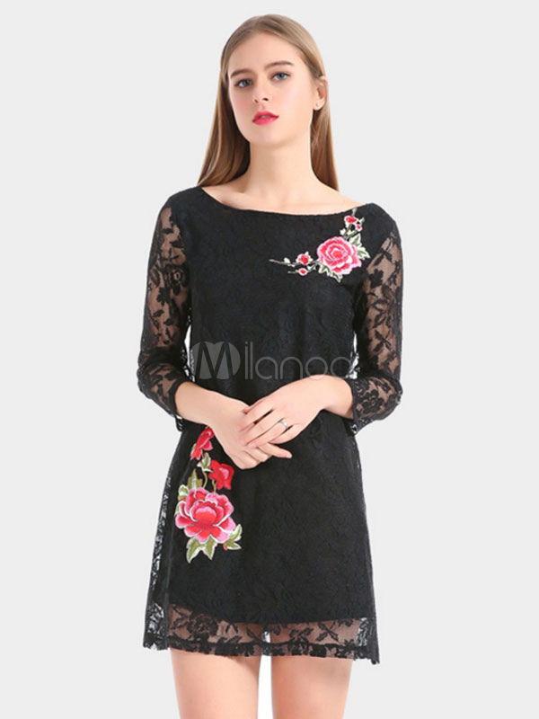 Buy Black Lace Dress Applique 3/4 Length Sleeve Women Summer Dress for $21.65 in Milanoo store