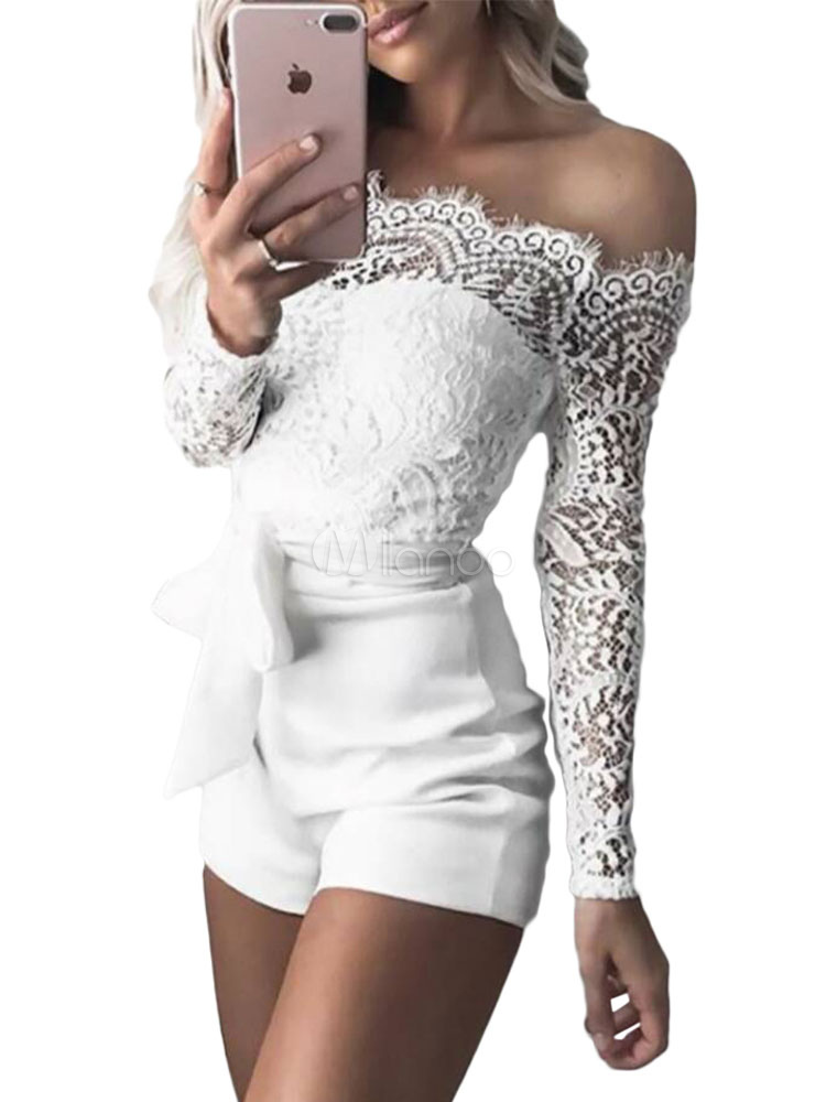 Women Sexy Romper White Lace Long Sleeve Sash Summer Playsuit