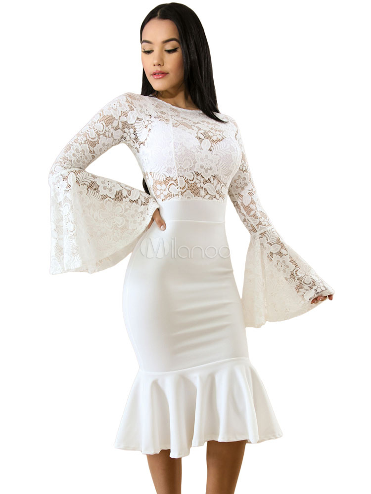 Formal Vestido Mujeres Las De Ajustado Encaje Blanco zqMSUVp