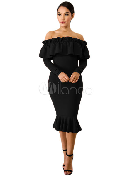 Black Bodycon Dress Women Long Sleeve Off The Shoulder Ruffles Party