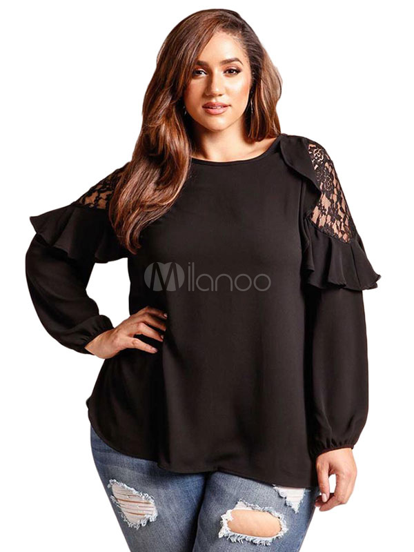 Buy Plus Size Blouses Black Long Sleeve Round Neck Lace Ruffles Spring T Shirt For Women for $23.74 in Milanoo store