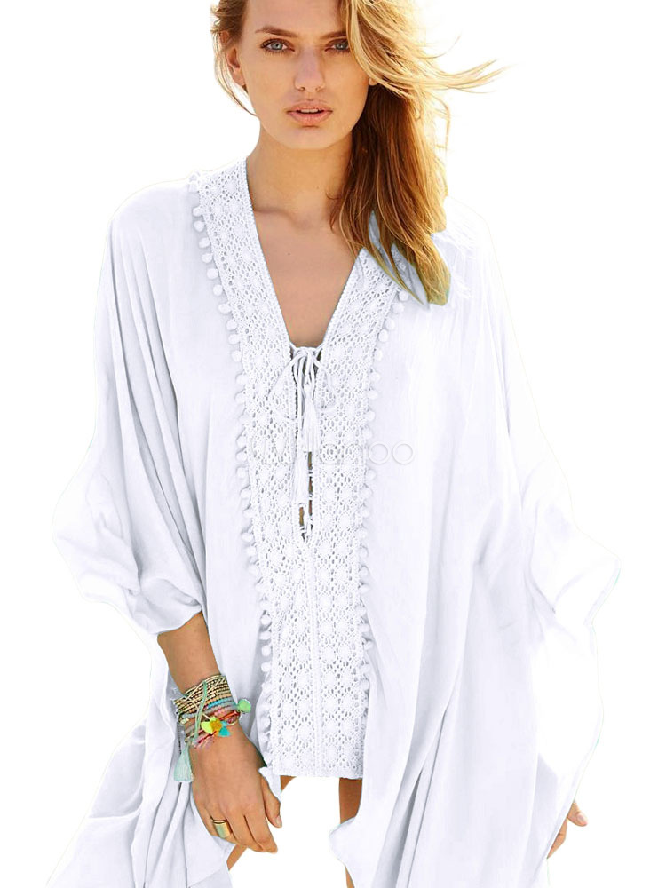 Buy Women Beach Cover Up White Long Sleeve V Neck Cotton Beachwear for $28.49 in Milanoo store
