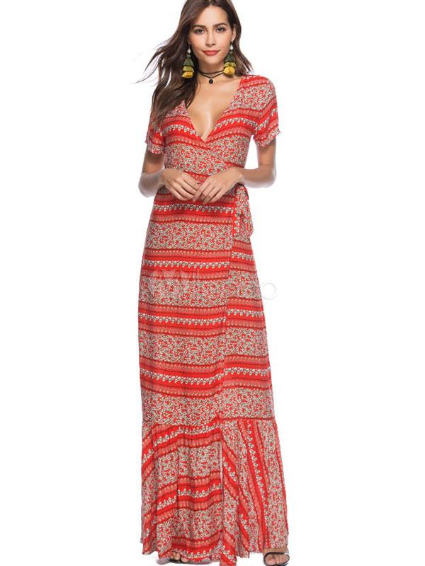 Buy Summer Long Dress Women Short Sleeve V Neck Printed Orange Red Cotton Beach Wrap Maxi Dress for $33.99 in Milanoo store