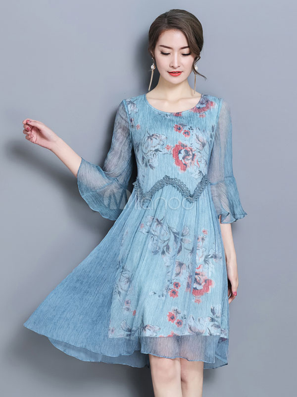 Buy Women Shift Dress Lace Crewneck Flared Sleeve Floral Print Blue Summer Dress for $36.08 in Milanoo store