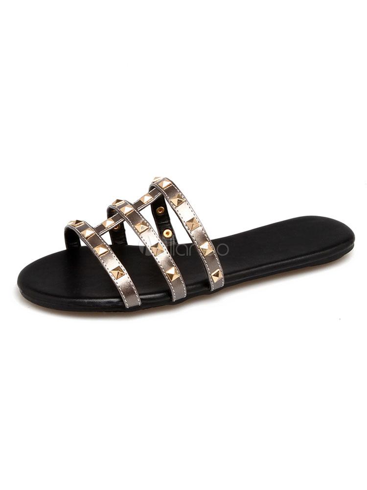 Zapatillas sandalias de mujer con remaches metálicos con remaches sandalias planas sin respaldo IxZ6f