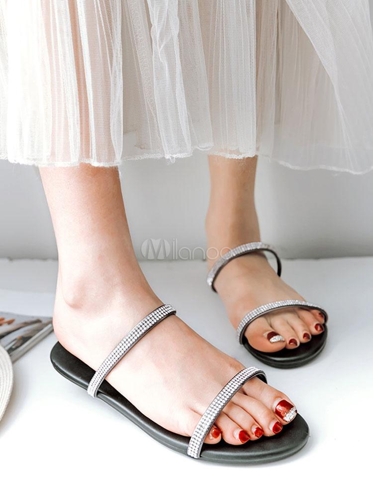 Sandalias planas sin respaldo de los hombres del Rhinestones del dedo del pie abierto de las chancletas de las mujeres dqdFh6