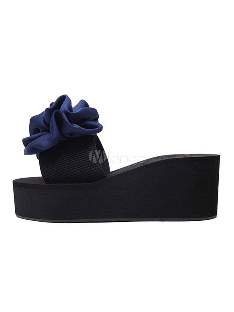 sandalias de mujer de color azul sandalias de playa de punta abierta sandalias deslizables con punta abierta hT6p1