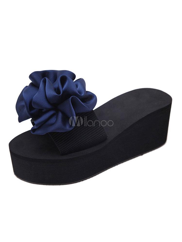Buy Blue Sandal Slides Women Beach Sandals Open Toe Bow Backless Sandal Slippers for $11.99 in Milanoo store