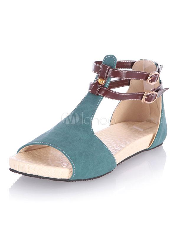 Blue Women Sandals Open Toe Buckle Detail Ankle Strap Sandal Shoes Flat Sandals