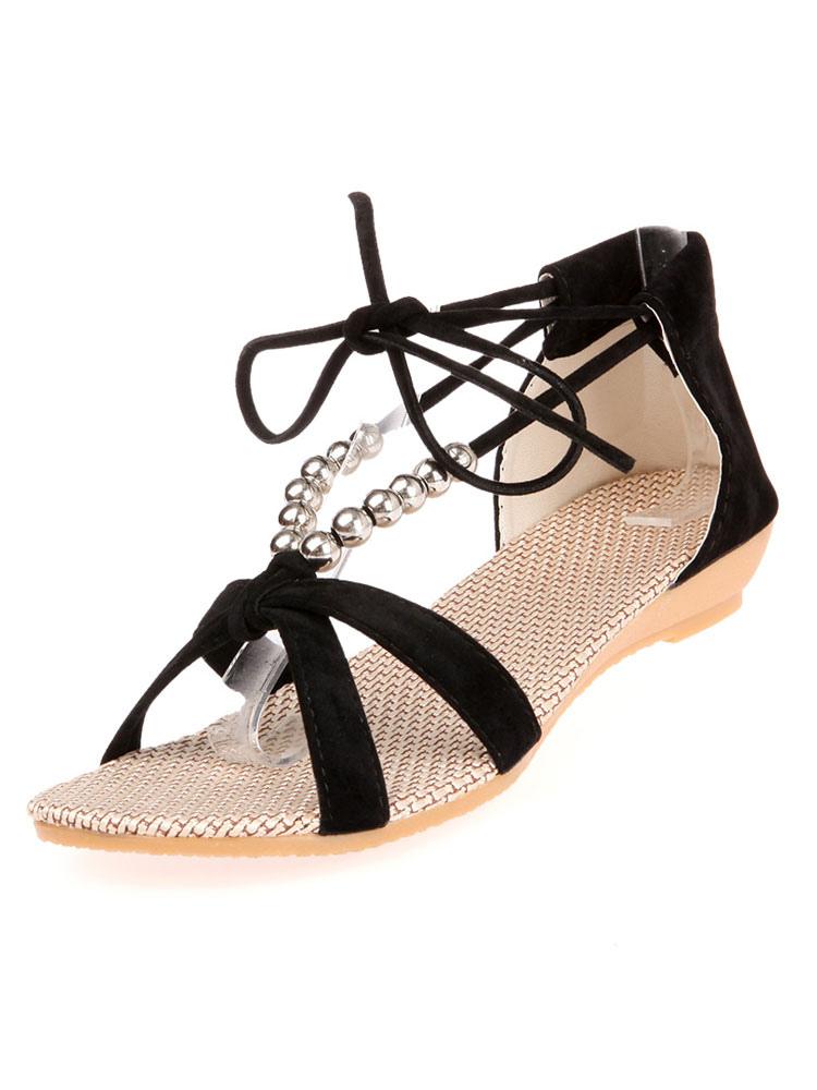 Black Sandal Shoes Open Toe Beaded Lace Up Sandals Women Flat Sandals