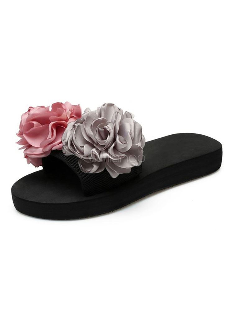 Buy Women Flip Flops Pink Flowers Beaded Sandal Slippers Beach Sandal Shoes for $13.99 in Milanoo store