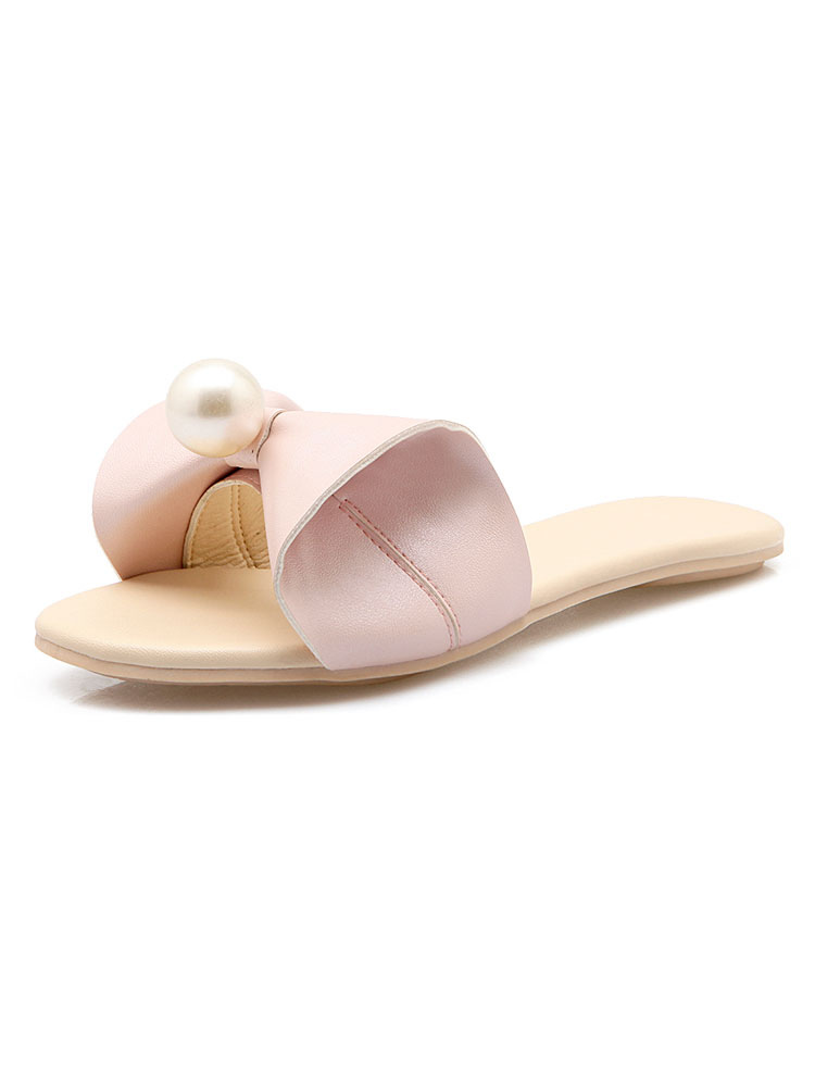 Pink Sandal Slides Women Open Toe Bow Pearls Backless Sandals Flat Sandal Slippers