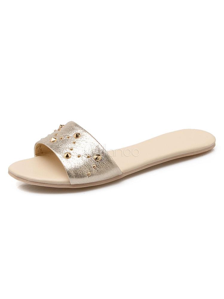 Women Sandal Slippers Plus Size Open Toe Rivets Backless Sandals Gold Sandal Slippers