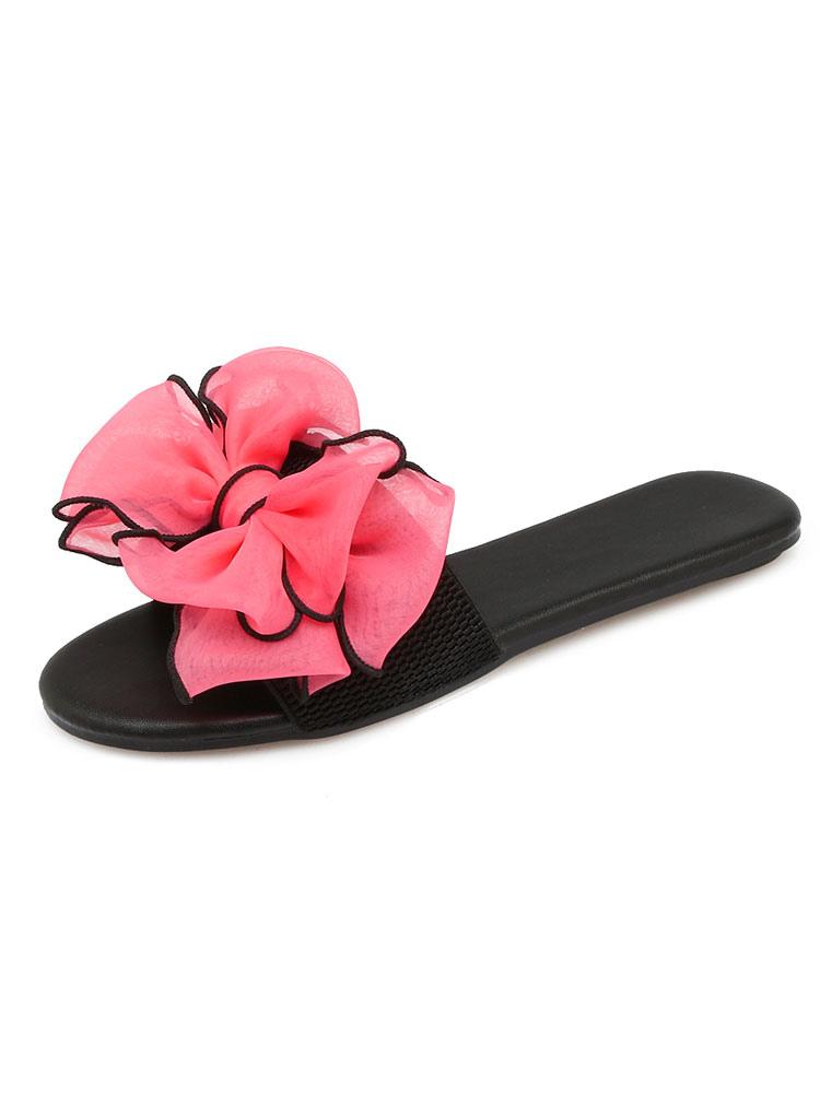 Buy Women Sandal Slippers Peach Open Toe Bow Backless Flat Sandals Slip On Beach Sandals for $21.24 in Milanoo store