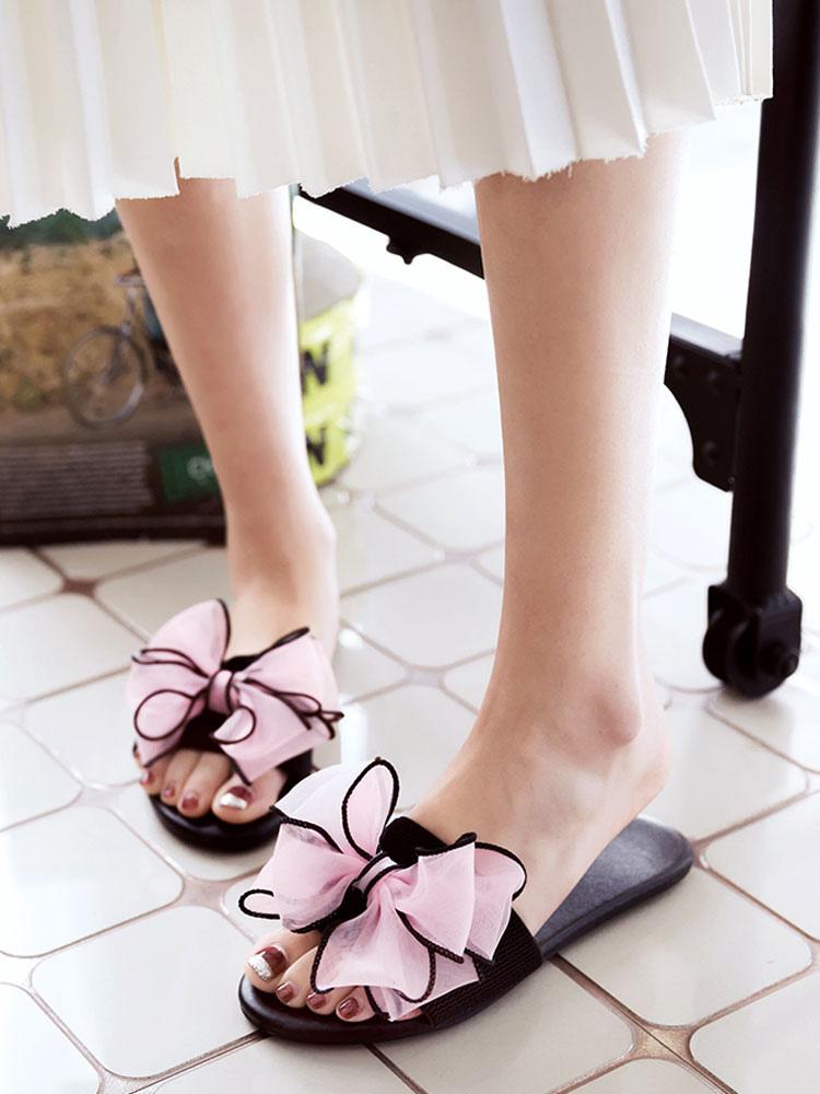 sandalias de mujer de color durazno de punta abierta sin tacones sin espalda de playa pXrNtgcs