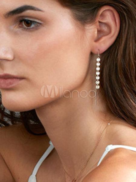 Silver Dangle Earrings Round Linear Chain Earrings For Women