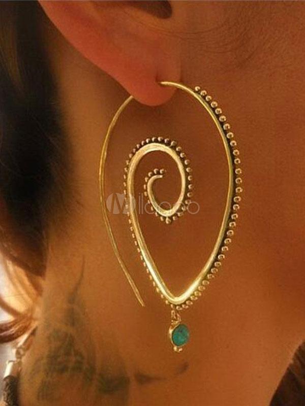 Gold Statement Earrings Boho Spiral Hoop Earrings For Women