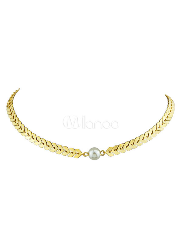 Gold Choker Necklace Pearl Chain Necklace For Women