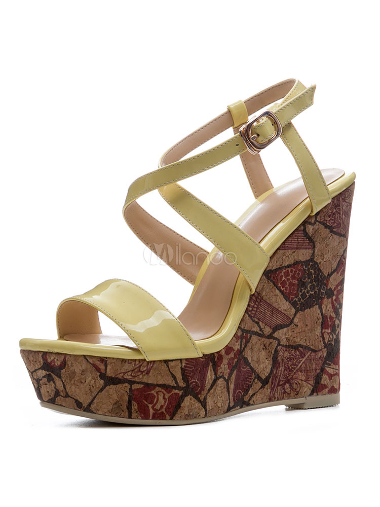 Buy Women Wedge Sandals Yellow Open Toe Criss Cross Sandal Shoes Summer Shoes for $56.99 in Milanoo store