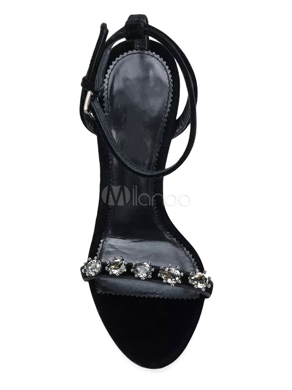 ba8078e80 ... High Heel Sandals Black Open Toe Rhinestones Ankle Strap Sandal Shoes  Women Evening Shoes-No ...