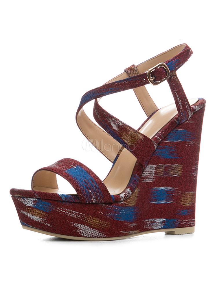 5db440c811d436 Burgundy Wedge Sandals Women Shoes Platform Open Toe Criss Cross Sandal  Shoes-No.1 ...