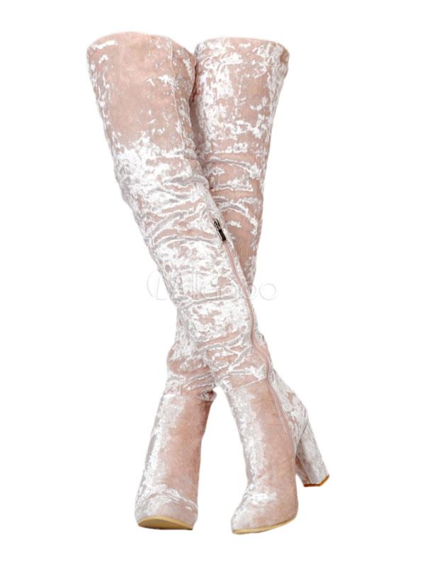 Botas altas hasta el muslo Botas altas de terciopelo rosadas con punta redonda hasta la rodilla Botas altas de tacón alto de mujer Sa0g2OEOk2