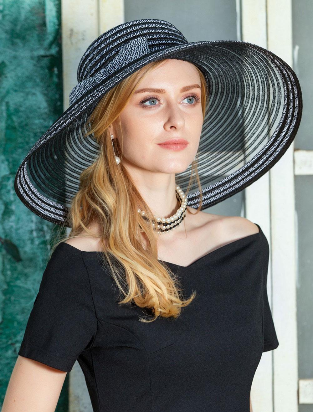 Buy Black Vintage Hat Women Retro Cap Wide Brim Costume Hair Accessories for $28.79 in Milanoo store