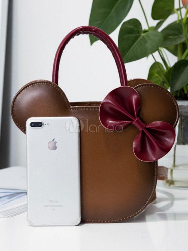 Bolso Sweet Lolita de Mickey Mouse con dos tonos de PU Lolita marrón YYNbBut3