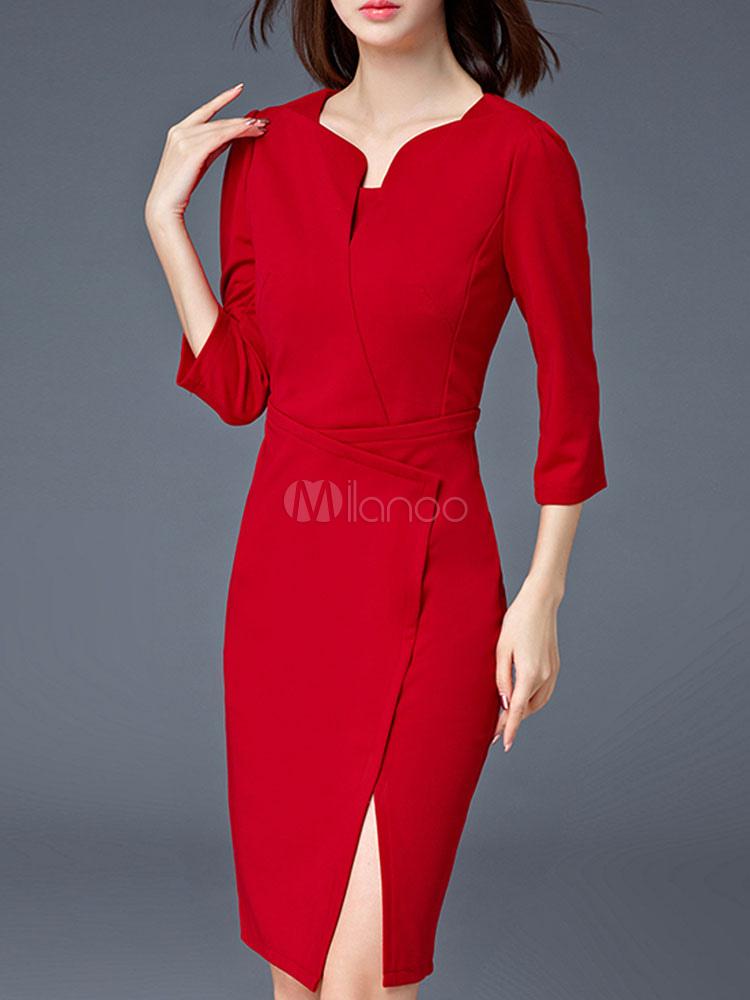 Vestido ajustado rojo Bodycon Vestido dividido de tres cuartos para ...