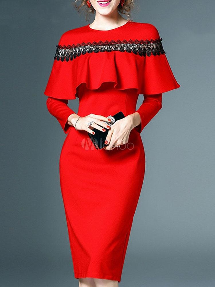 Red Bodycon Dress Long Sleeve Crewneck Lace Cape Split Women Midi Dress
