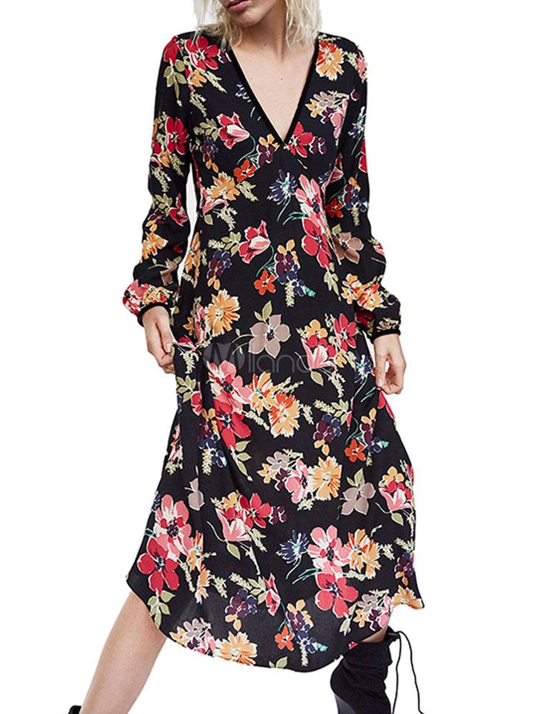263e848423 Vestido largo de manga larga con cuello en V y estampado floral de gasa de  primavera ...