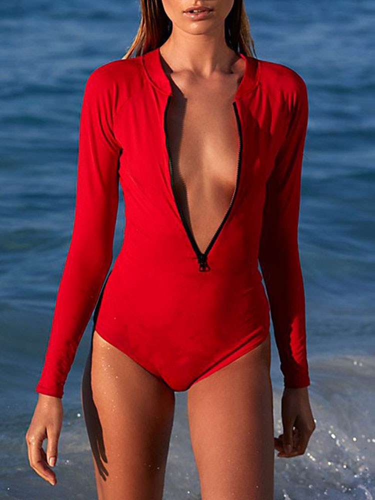 One Piece Swimsuit Long Sleeve Red Swimwear Backless Sexy Beach Wear For Women