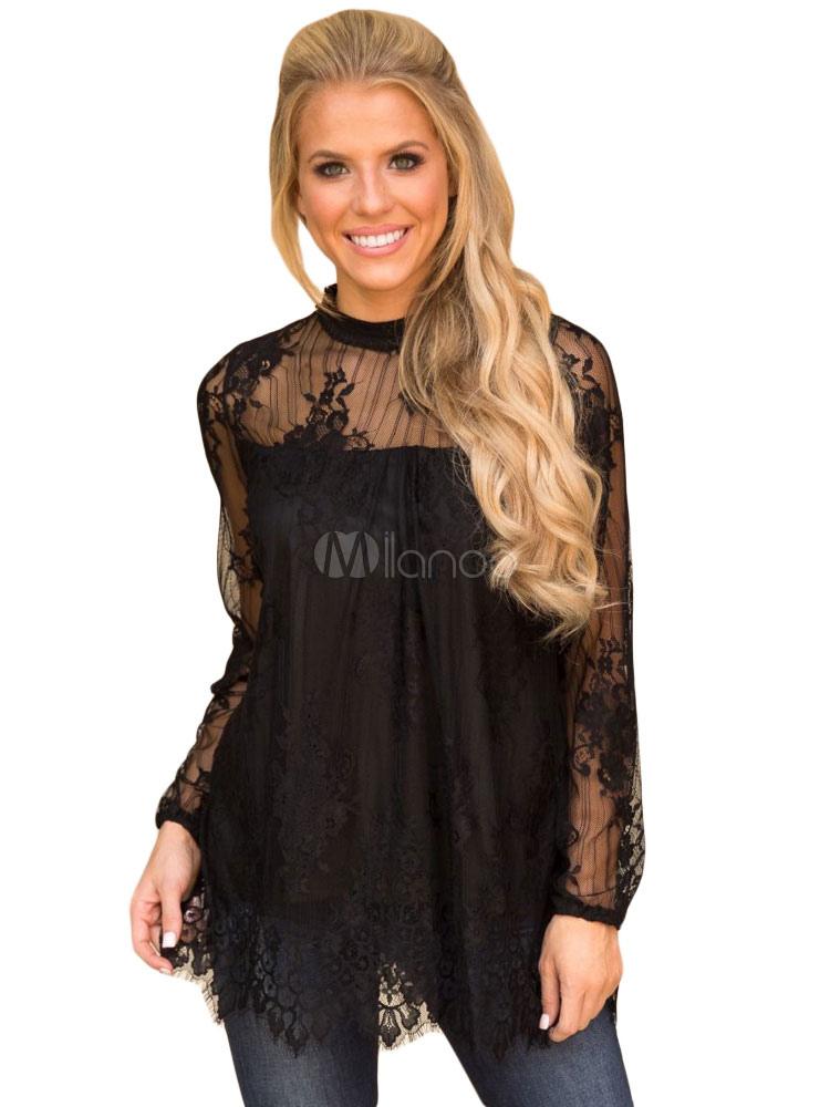 9e8b0439983d9 Blusas negras para mujer Top casual de cuello redondo de encaje de manga  larga-No ...