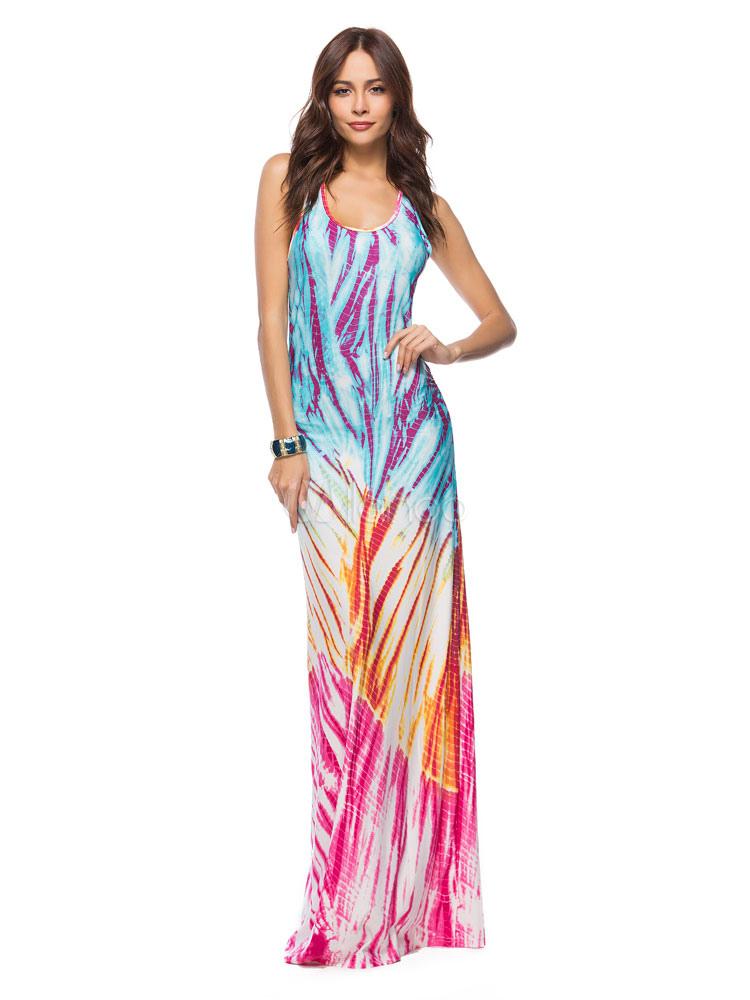 Summer Long Dress U Neck Sleeveless Printed Tank Beach Maxi Dress For Women