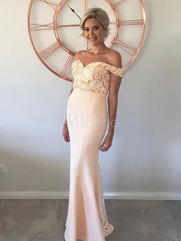 e6b7229d9 Maxi vestido de fiesta de encaje fuera del hombro Slim Fit largo vestido  formal para mujeres ...