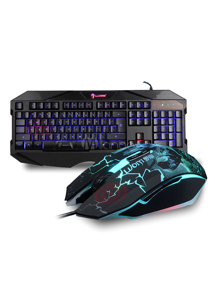 Buy Keyboard Mouse Combo Avago 3050 Chip Print Gaming Mouse With Backlit Mechanical Keyboard Wired for $40.79 in Milanoo store