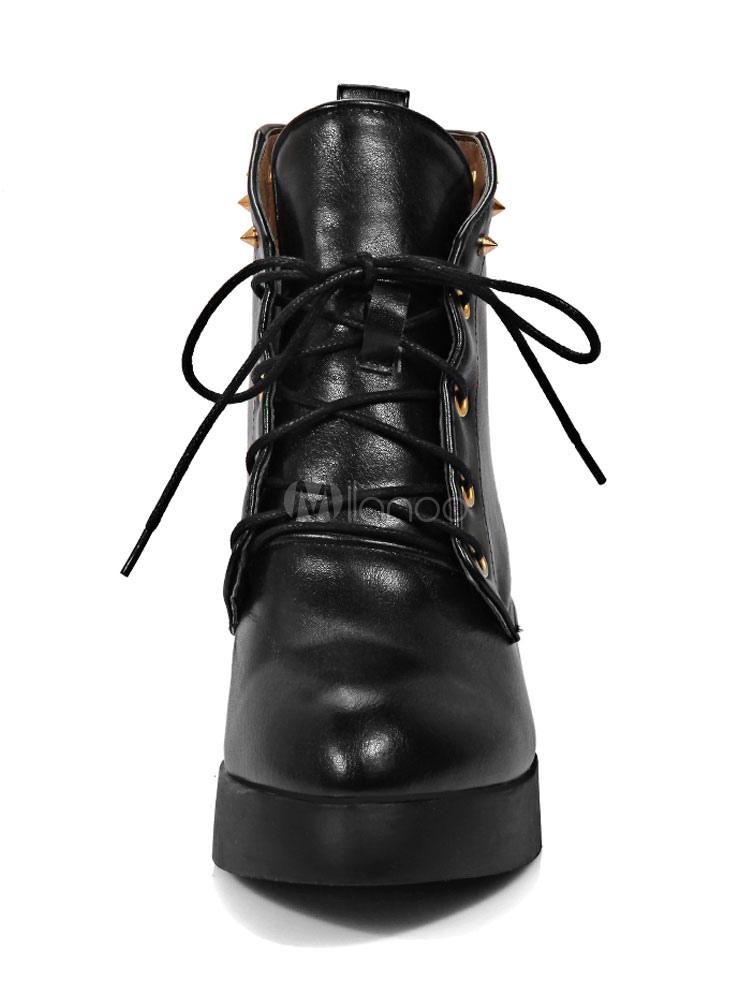 Zapatos casuales rojos Zapatos de cuña de las mujeres remaches de punta redonda Zapatos de cordones 6B5dQIa