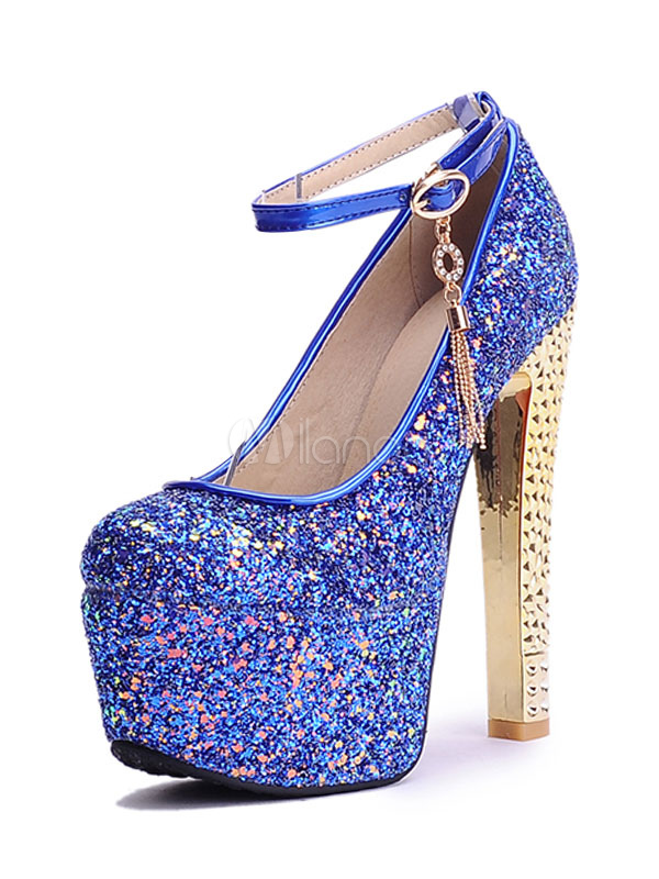 big sale f8dcf a890c Blaue Abendschuhe Glitter Plateau Round Toe Ankle Strap Pumps Frauen High  Heels