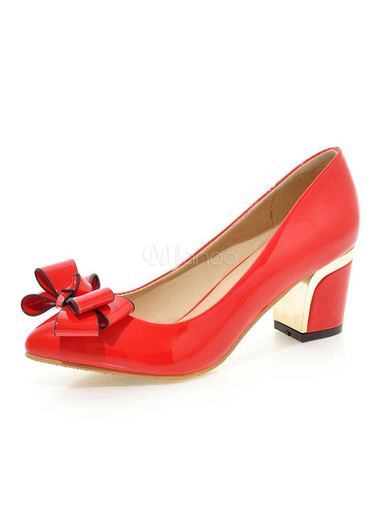 Zapatos de tacón puntiagudo Zapatos de tacón alto rojos con cordones de las mujeres Tacones gruesos de mujer vrB7a0reA