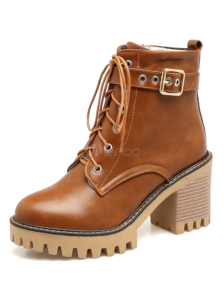 High Heel Boots Brown Round Toe Buckle Detail Lace Up Ankle Boots