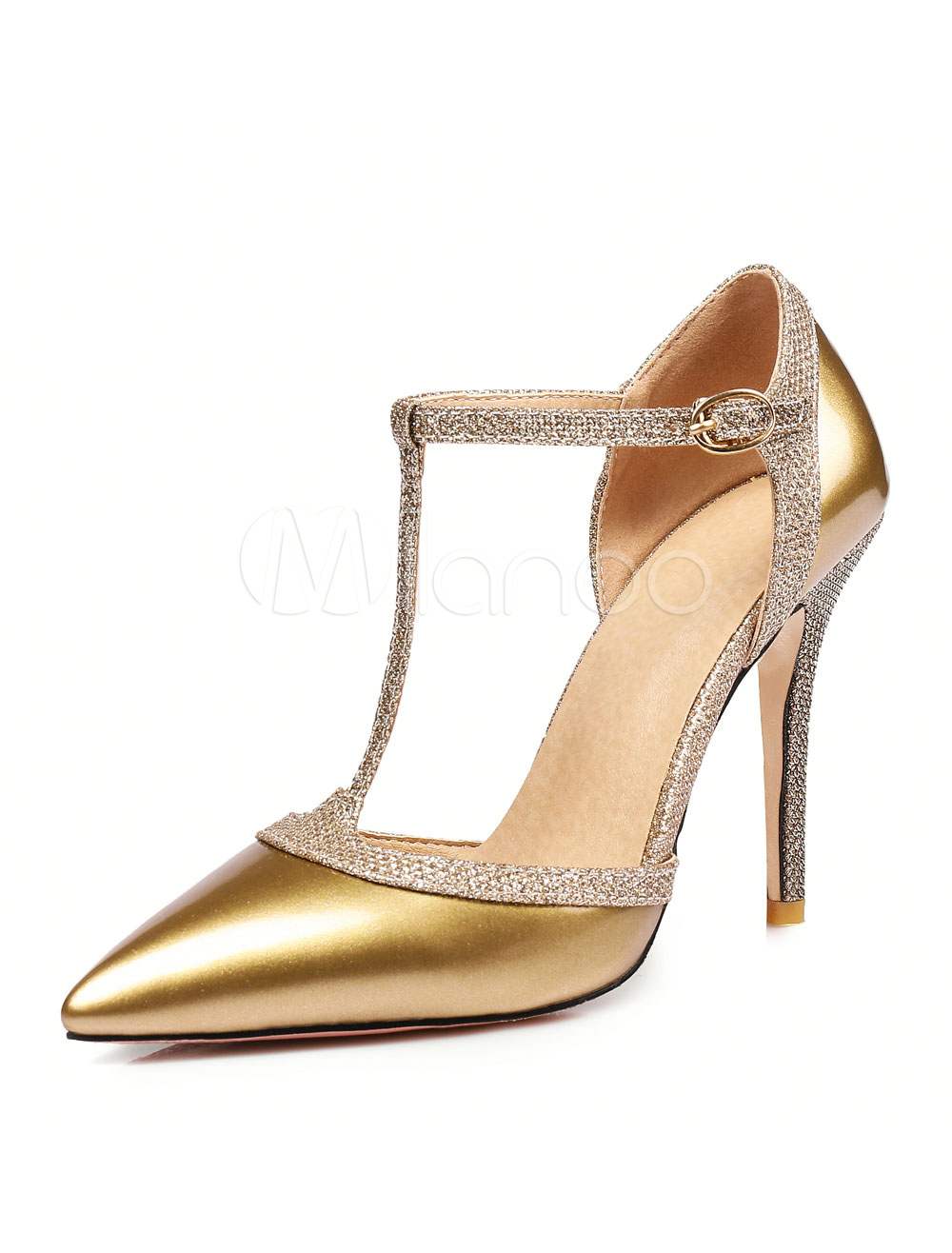 Buy Gold High Heels Pointed Toe T Type Buckle Detail Shoes Women Dress Shoes for $37.99 in Milanoo store