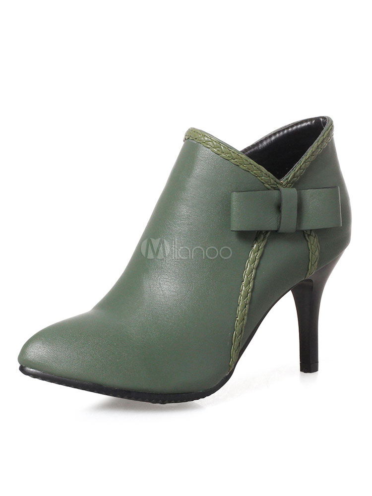 cd892519d3e High Heel Booties Dark Green Pointed Toe Bow Short Booties For Women-No.1  ...