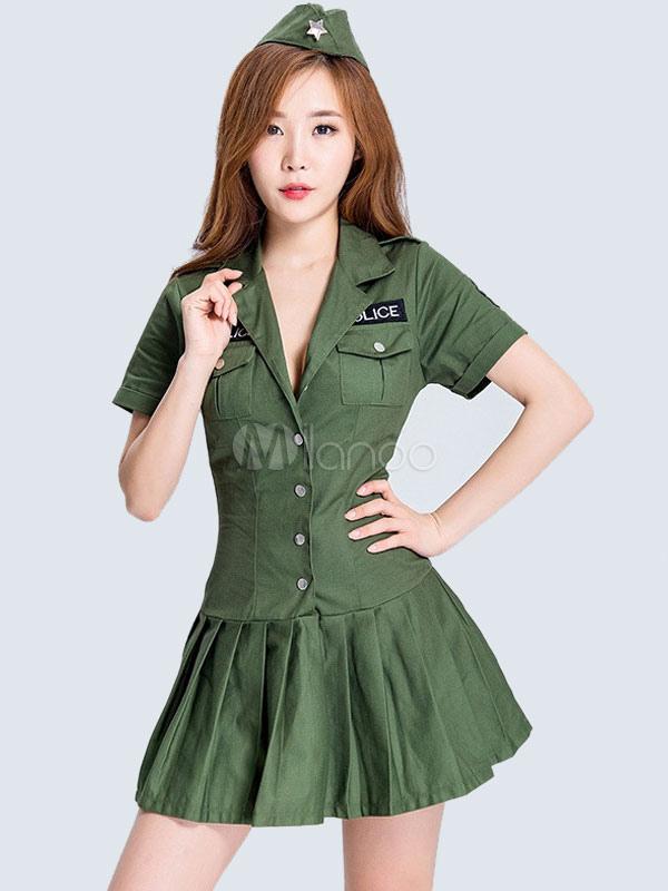Army Costume Sexy Women Halloween Camo Printed Hunter Green Dress Set