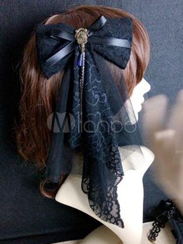 Buy Steampunk Lolita Headdress Lace Tulle Ruffle Ribbon Bow Metallic Black Lolita Hair Accessory for $15.29 in Milanoo store