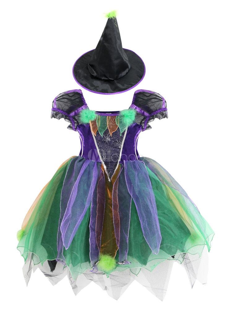 Halloween Witch Costume Kids Purple Dress And Hat Girls Costume Clothing Milanoo Com