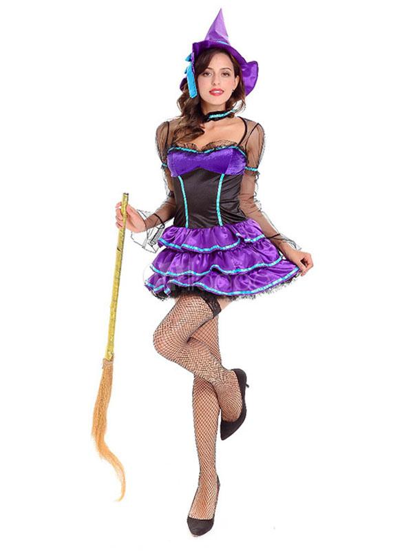 Vestiti Halloween Strega.Costume Da Strega Halloween Per Donna Vestito Viola