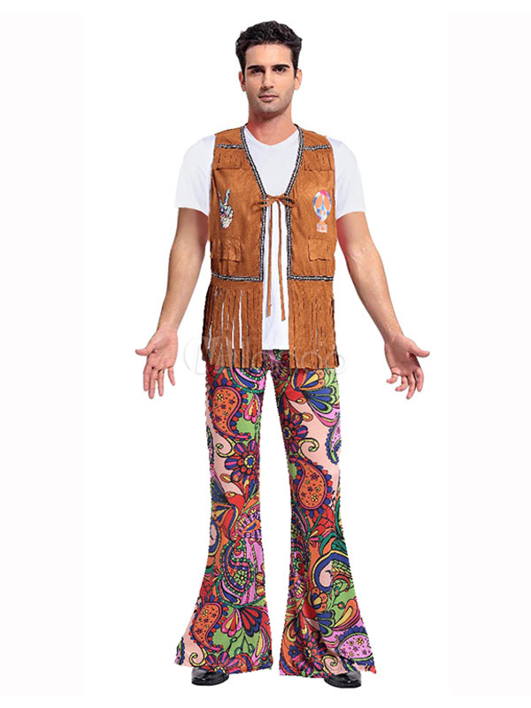 Hippie Costume Halloween Brown Men 3 Pieces Costume Outfit-No.1 ...  sc 1 st  Milanoo.com : hippie costume for halloween  - Germanpascual.Com